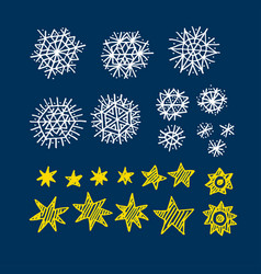 xmas star and blue snowflakes elements set vector image