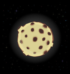 Yellow cartoon full moon with craters in the vector