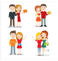Young people with gift flat style design vector