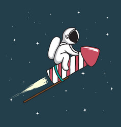 baby astronaut flying on firework rocket vector image vector image