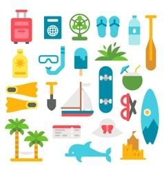Flat design beach items set vector image vector image