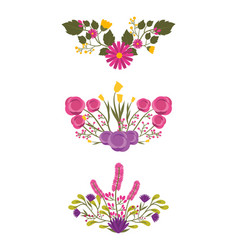set of detailed beautiful bunches of flowers vector image