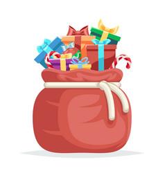 bag full gifts christmas new year winter holiday vector image vector image
