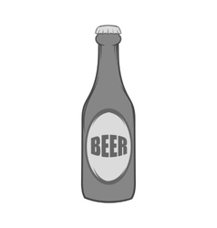 Bottle of beer icon black monochrome style vector