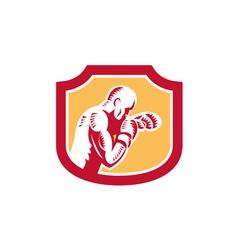 Boxer boxing jabbing punch side shield retro vector