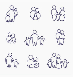 happy family icons symbols collection linear vector image