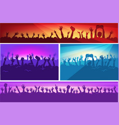 human silhouettes with raised hands in colorful vector image vector image