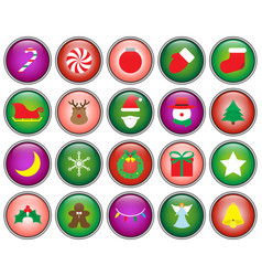 merry christmas - button icons vector image vector image