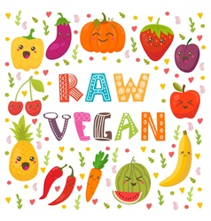 Raw vegan Cute happy fruits and vegetables in vector image vector image
