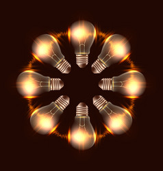 round frame of realistic light bulbs with light vector image