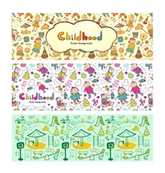 Set colorful children banners in cartoon style vector image