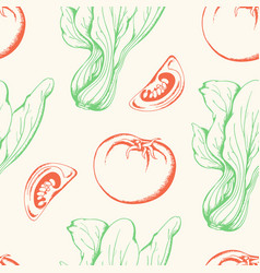 vegetable vintage seamless pattern vector image vector image