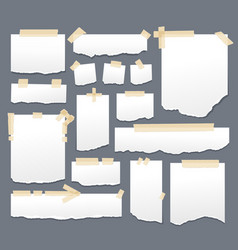 white paper sheets with scotch tape set sticky vector image vector image