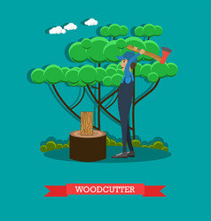 woodcutter flat in flat style vector image