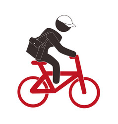 color pictogram with messenger man in bike vector image vector image