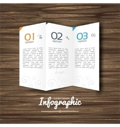 Infographic design steps 1 2 3 on wooden vector
