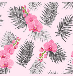 pink orchid flowers jungle palm leaves pattern vector image vector image
