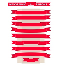 Red ribbon set for remarkable title vector image vector image