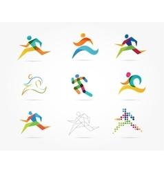 Running marathon people run colorful icon set vector image vector image