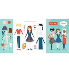 schoolgirl character constructor set cartoon vector image