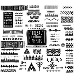 Set of ethnic pattern brushes vector image vector image