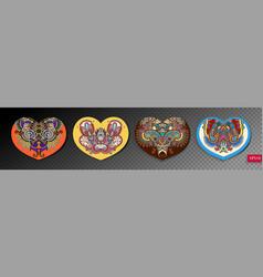 set of four ornamental floral paisley heart design vector image