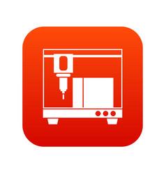 3d printer icon digital red vector image