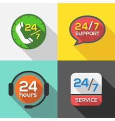 Customer Service 24 hours Support Flat Icon set vector image vector image