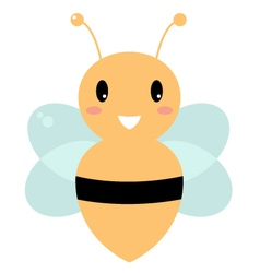 Cute beautiful yellow bee isolated on white vector image vector image