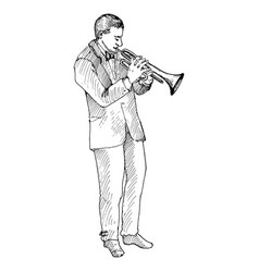 man playing trumpet vector image