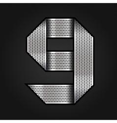 Number metal chrome ribbon - 9 - nine vector image vector image