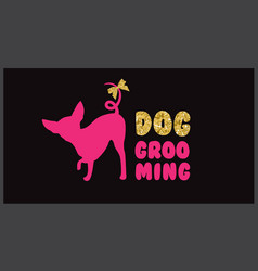 Pink dog silhouette with gold bow and gold letters vector