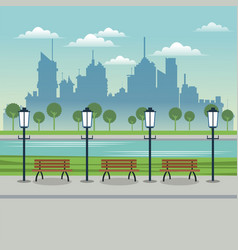 post lamp bench urban background vector image