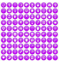 100 diagnostic icons set purple vector image