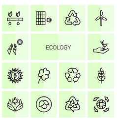 14 ecology icons vector