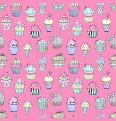 a seamless pattern cakes vector image
