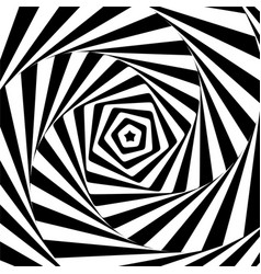 Abstract illusion in motion hypnotic black and vector
