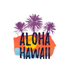 aloha hawaii greeting banner tropical palm tree vector image