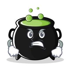 Angry magic cauldron character cartoon vector