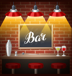 Bar counter in pub or night club of vector