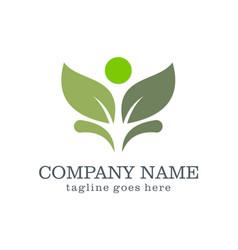 beauty green leaf logo design vector image