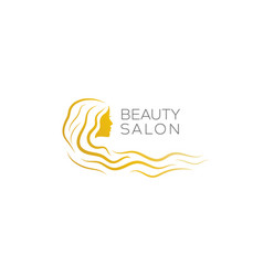 beauty salon logo with a gold woman vector image