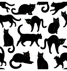 Black cats seamless vector
