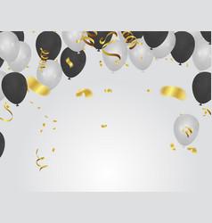 Black white balloons confetti concept design vector