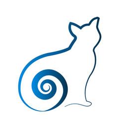 blue cat shape outline art icon vector image