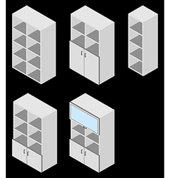 Book cupboard isometric vector image
