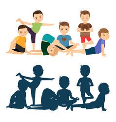 Boys yoga training vector