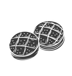 bread rolls outline icon vector image