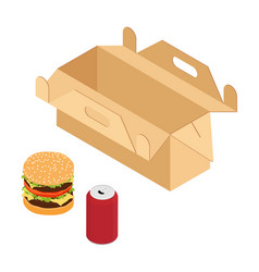Burger and drink takeaway cardboard box isolated vector