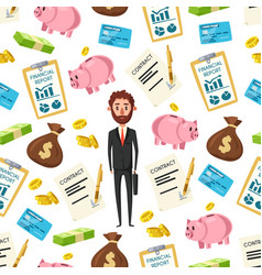 Businessman and financial items pattern vector